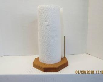 Hand made hardwood paper towel holder