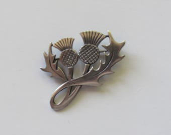 Vintage Sterling Silver Thistle Brooch