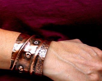 Fold Formed Copper Cuff Bracelet, Women's Copper Bracelet, Boho Chic Copper Cuff