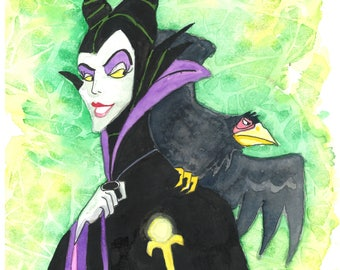 Maleficent Matted Print.