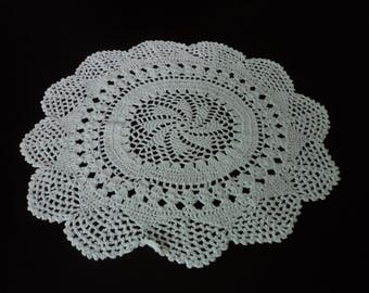 Vintage French hand crochet white cotton doily (05103)
