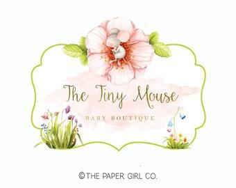 mouse logo baby boutique logo premade logo photography logo watercolor logo sewing shop logo photo prop logo blog logo knitting logo design