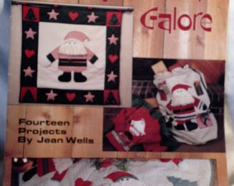 Vintage 1990 Leisure Arts Applique Santas Galore/Jean Wells/Leaflet/Christmas Decor/Crafts/Sewing