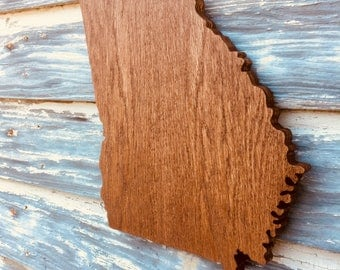 Wood Georgia Cutout Sign -  GA State Wooden Cutout Wall Art Hanging Sign State Sign