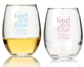 Personalized Glasses - Bridal Party Glasses - Personalized Stemless Wine Glasses-(25 pieces)-Stemless Wine Glasses