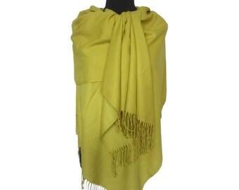 Yellow Pashmina, Christmas Gifts for Women, Pashmina Scarf, Fashion Shawl, Yellow Long Pashmina, Gift for Girlfriend, Plain Pashmina