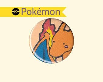 Charizard Badge - Pokemon pin, Charizard button, Charizard pin, Pokemon badge, Pokemon button, cute Charizard, kawaii Charizard