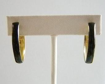 Black Enamel Oblong Clip On Earrings