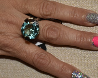 Pianegonda huge solitaire sterling ring with blue quartz crystal stone and gold accent heart, rare made in Italy.