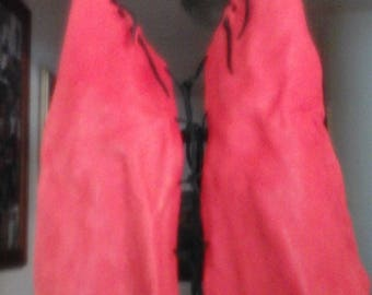 Red Leather Halter Top