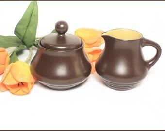Nitto Chocolate Brown Cream and Sugar, Noritake Folkstone