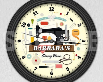 Sewing Machine Personalized Wall Clock - Sewing Room - Craft Room Decor - Quilt ITEM#016