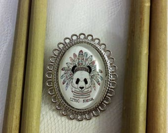"""Panda in Indian headdress 2"" Oval brooch. Cabochon glass 18 x 25 mm"