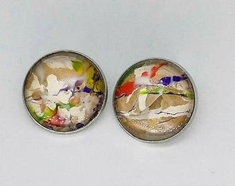 "Design 2 ""egg shells"" clip on earrings"