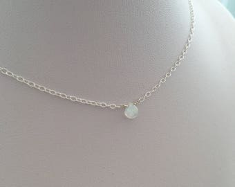 Minimal Moonstone necklace with tiny rainbow moonstone teardrop and Sterling silver, daughter gift, girlfriend gift for her, June birthstone