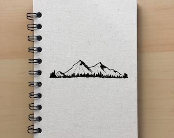 Notebook, journal, blank journal, mountain journal, mountain notebook, hand painted notebook, canvas notebook, sketchbook