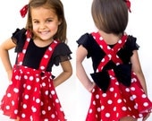 Red Pink polka dots criss cross suspenders circle SKIRT ONLY, Minnie Mouse birthday outfit with a matching hairbow, Baby infant toddler girl