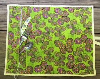 Roll up Placemat- Butterfly placemat- Utensil Pocket Placemat- Picnic Placemat- Outdoor Gift- BBQ Placemat