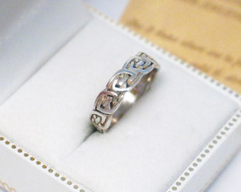 Sterling Silver ring band knot eternity pattern design size 6 womens mens trans fine jewelry