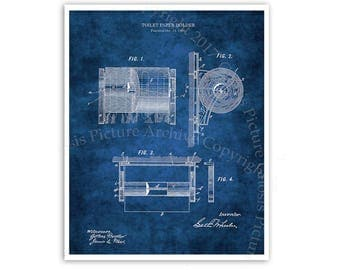 Bathroom Decor Blueprint Diagram of 1890 Toilet Paper Holder Invention. One Single Unframed Print. Restroom Wall Art, Toilet Paper Patent