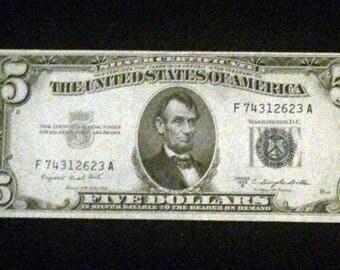 1953 A Five Dollar Silver Certificate in Very Fine Condition