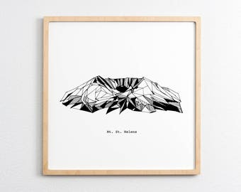 Mt. St. Helens Washington Polygonal Drawing Art Print