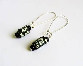 Earrings black polymer clay with white flowers