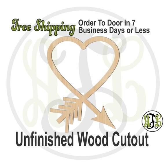 Heart Arrow- 110041- Valentine Cutout, unfinished, wood cutout, wood craft, laser cut shape, wood cut out, Door Hanger, wall art
