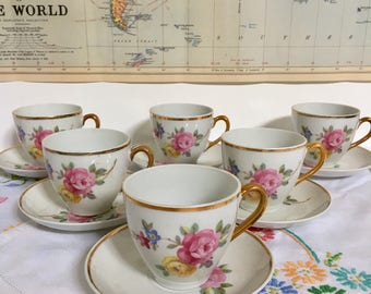 Vintage Bone China 12-piece Coffee /Tea Set, Roses