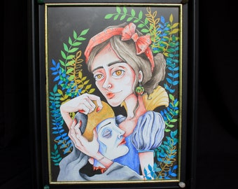 Snow white with stepmom illustration in wooden frame, fairytale disney