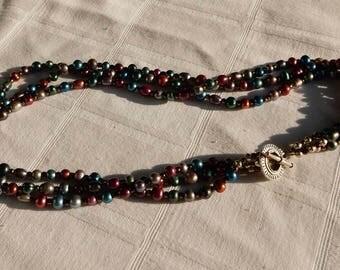 SALE Multi-Strand Pearl Necklace Metallic Colors- Cultured Pearl Necklace- Freshwater Pearl Necklace - Multi Colored and Multi Strand Pearls