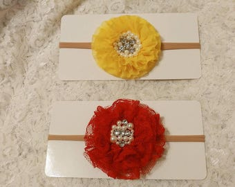 One headband - Diamonds and Pearls flower headband