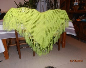 Neon yellow mohair shawl.