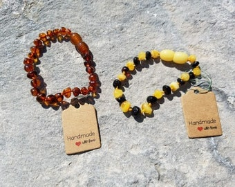 Real Baltic Amber Teething Bracelet or Anklet. Organic Hazelwood and Raw Amber. Helpful for Baby Teething Symptoms, Baby Gift. Twins
