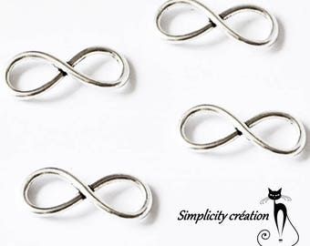 "Double connector""Infinity""silver color 23 x 8 mm set of 4"