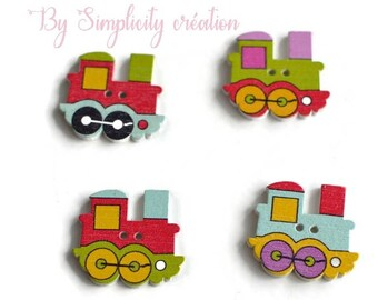 "4 themed ""colorful trains"" wood buttons"