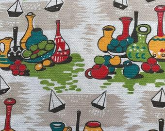 Vintage Barkcloth Fabric Piece pots/boats design 84cm x 150cm