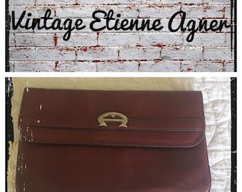 Etienne Agner vintage leather maroon clutch