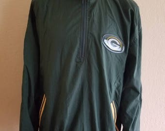 Vintage 90s Pro Player NFL Greenbay Packers Medium M Green Pullover Windbreaker Jacket