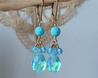 Vintage 14k Gold Fill Turquoise Earrings, Crystal Earrings 14/20 GF Lever Back Blue Teardrop Crystal Vintage Pierced Turquoise Dangle