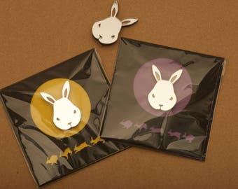 Mirrored Rabbit Broch on Card/Set of 3