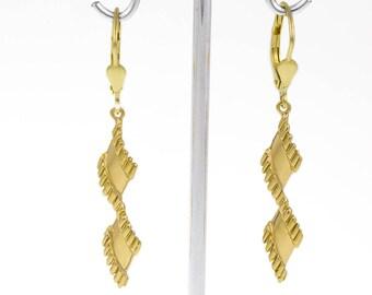 1 pair of elegantly turned earrings with Brisur, 14KT yellow gold, drop earrings