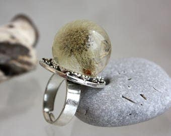 Ring dandelion sphere Forest dandelion ring Real dandelion ring. Ring dandelion. Ring epoxy resin.