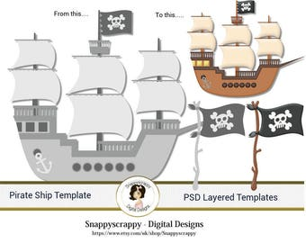 Pirate Ship Photoshop Layered Templates, PSD Layered Templates