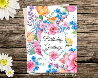 Printable  Birthday Card, Flowers, Greeting Card, Birthday  Printable Cards, Digital Download