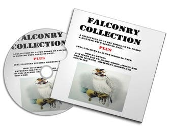 FALCONRY HAWKING COLLECTION hunting books leather working patterns templates hoods jesses guide diy plans + books #hunting