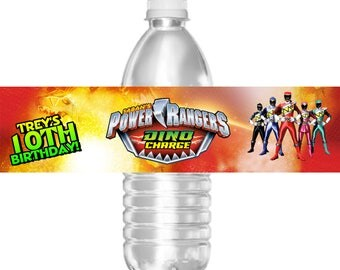 Printable Birthday Party Water Bottle Labels Power Rangers Dino Charge or Megaforce 16.9 oz Water Mini Water Gatorade