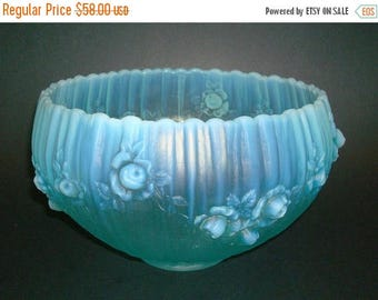 ON SALE NOW Large Luminous Blue Opalescent Glass Rose Bowl  Fenton Roses