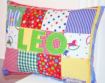 Personalized Baby Cushion, Personalised Pillow, Patchwork Pillow, Pillow for boy, Baby Pillow, Gift for Baby Boy, Personalised Gifts