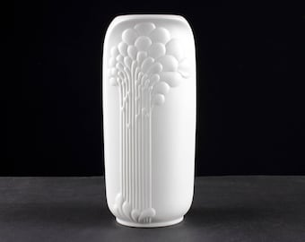 White op art bisque porcelain vase by Kaiser, west Germany, Mid Century, 60s